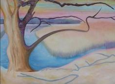 Frensham Pond. Oil on canvas. 2ft Sq.